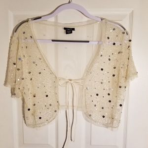 Rue 21 sequin shrug, crop top